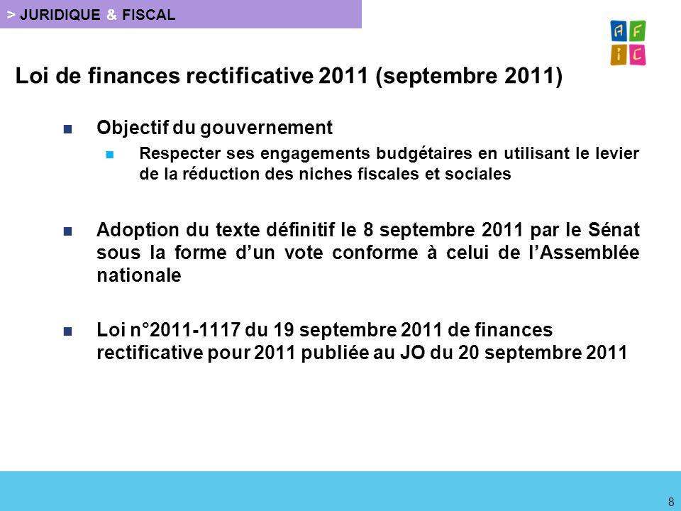 Loi de finances rectificative 2011 (septembre 2011)