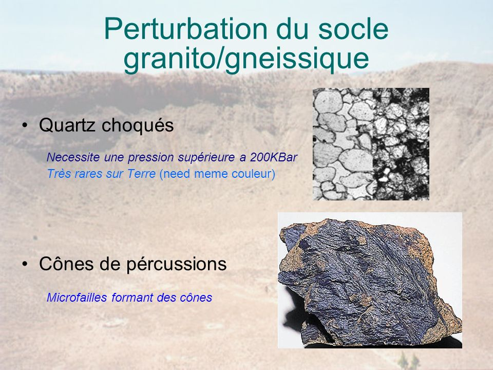Perturbation du socle granito/gneissique