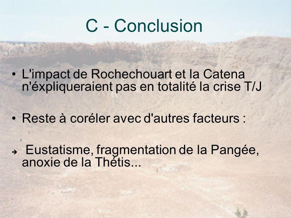 C - Conclusion L impact de Rochechouart et la Catena n éxpliqueraient pas en totalité la crise T/J.