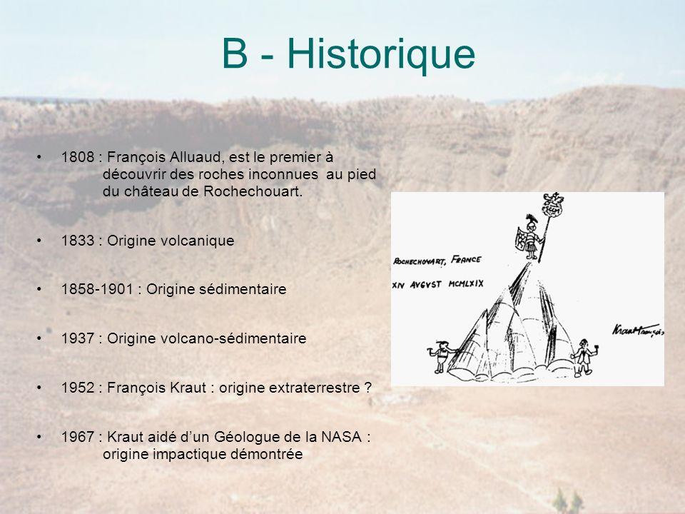 B - Historique 1808 : François Alluaud, est le premier à découvrir des roches inconnues au pied du château de Rochechouart.