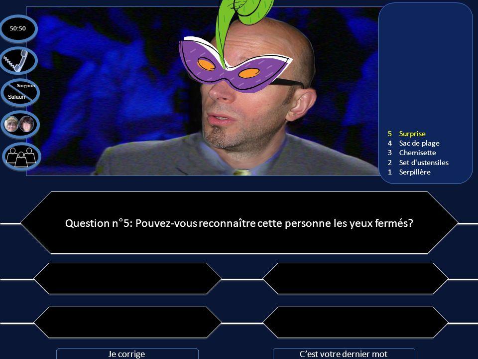 Question n°5: Pouvez-vous reconnaître cette personne les yeux fermés