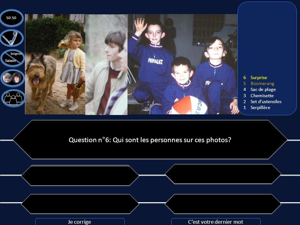 Question n°6: Qui sont les personnes sur ces photos