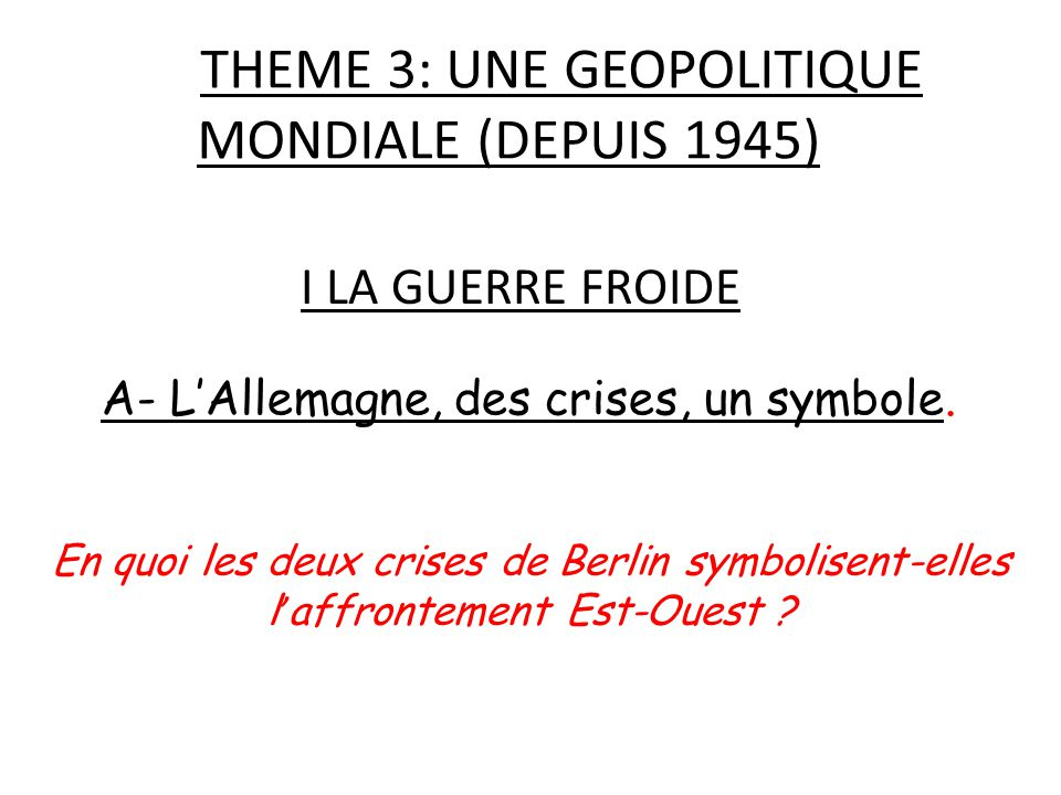 THEME 3: UNE GEOPOLITIQUE MONDIALE (DEPUIS 1945)
