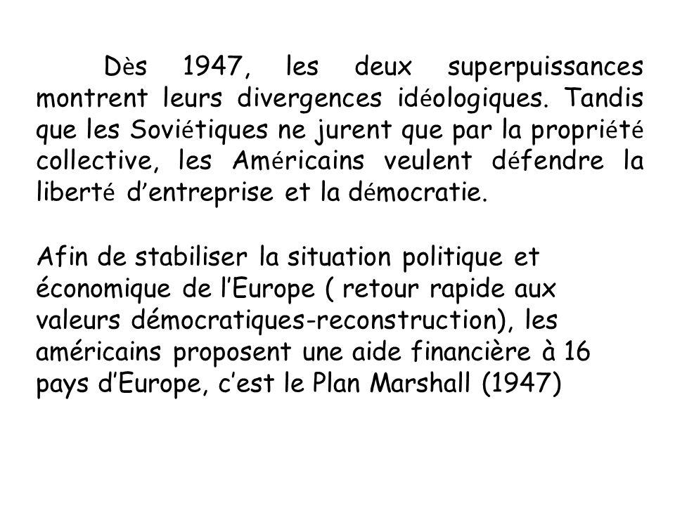 Dès 1947, les deux superpuissances montrent leurs divergences idéologiques. Tandis que les Soviétiques ne jurent que par la propriété collective, les Américains veulent défendre la liberté d'entreprise et la démocratie.