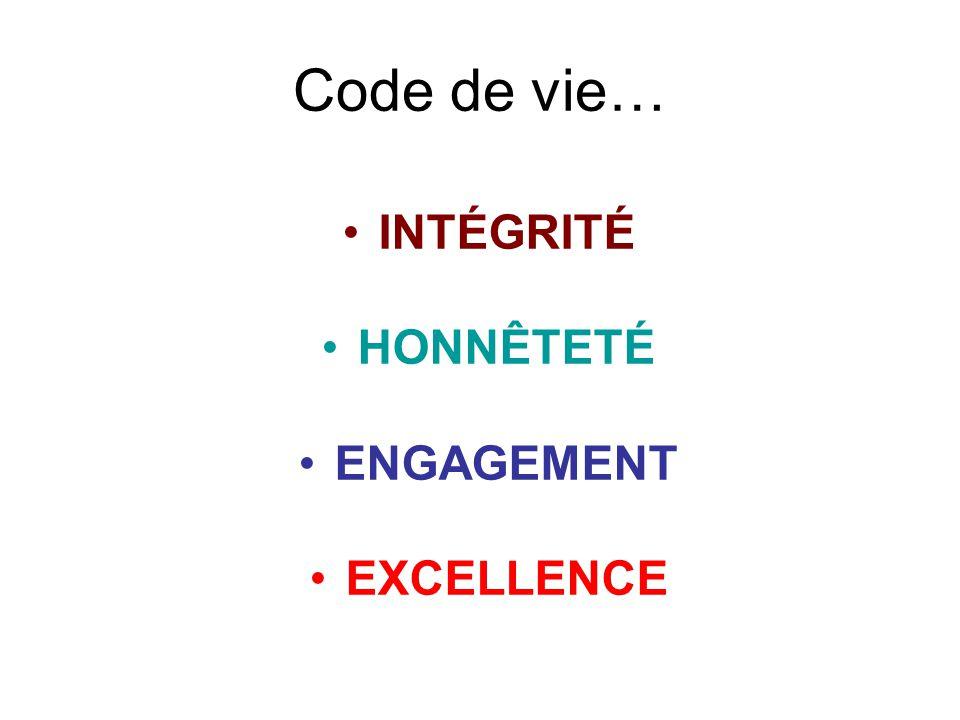 Code de vie… INTÉGRITÉ HONNÊTETÉ ENGAGEMENT EXCELLENCE