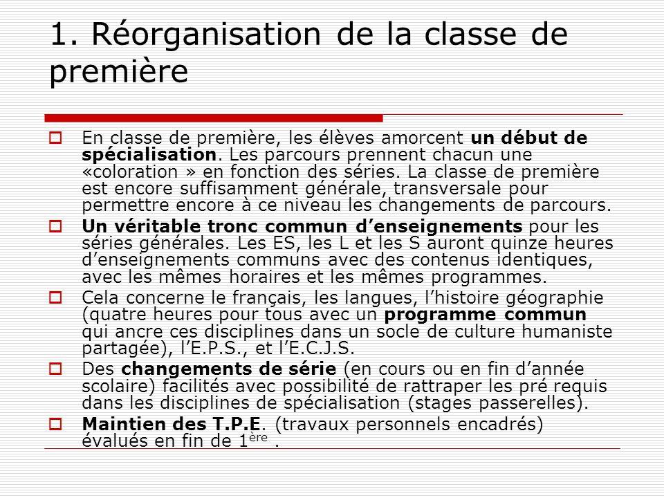 1. Réorganisation de la classe de première