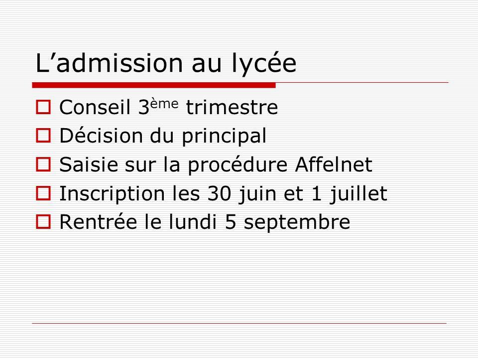 L'admission au lycée Conseil 3ème trimestre Décision du principal