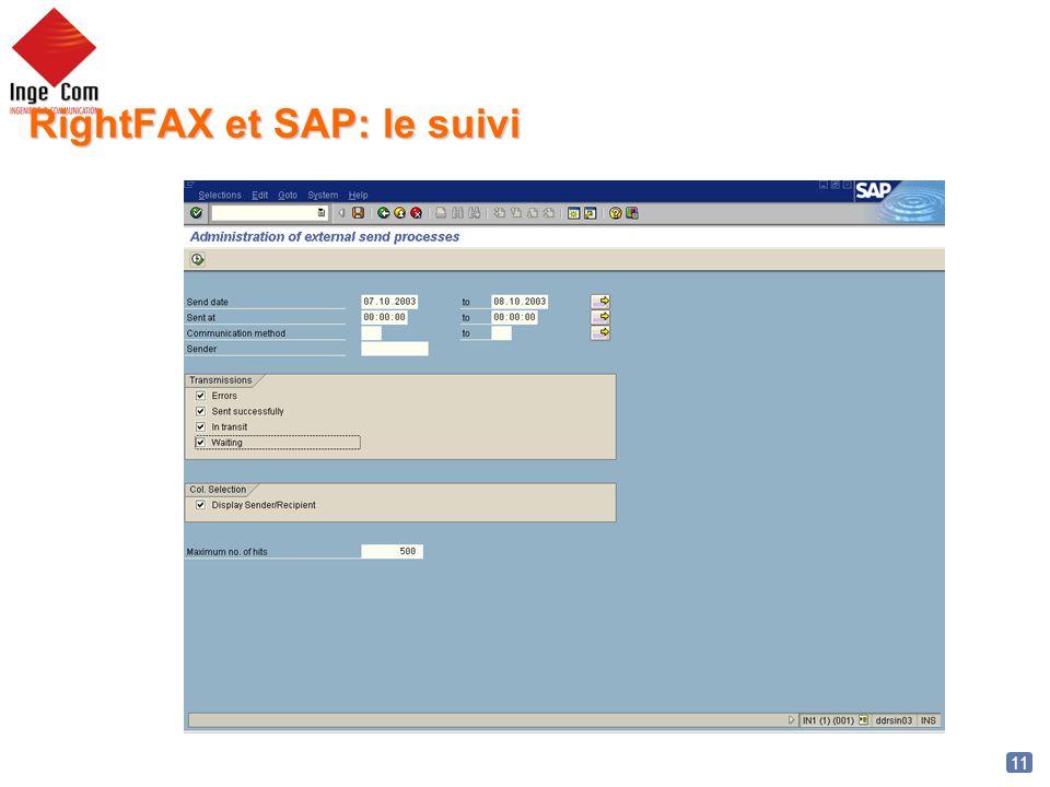 RightFAX et SAP: le suivi