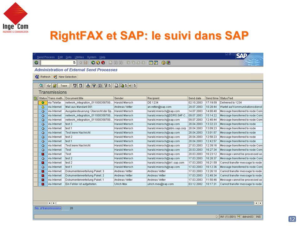 RightFAX et SAP: le suivi dans SAP