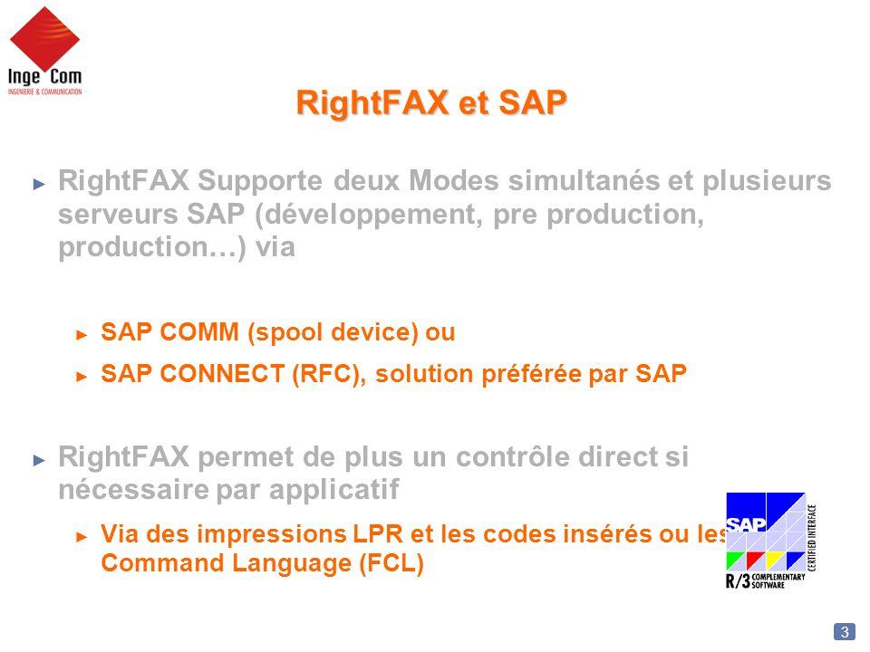 RightFAX et SAP RightFAX Supporte deux Modes simultanés et plusieurs serveurs SAP (développement, pre production, production…) via.