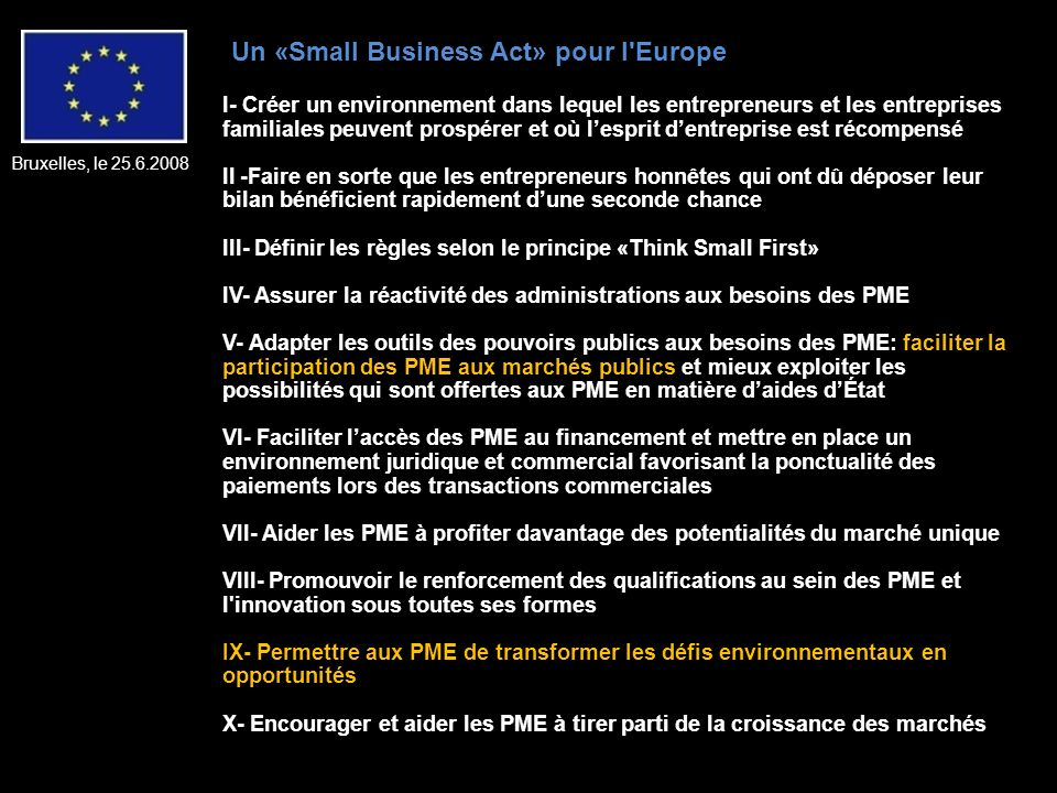 Un «Small Business Act» pour l Europe