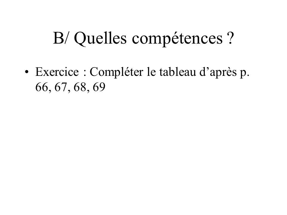 B/ Quelles compétences