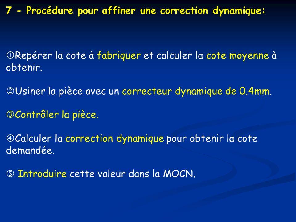 7 - Procédure pour affiner une correction dynamique: