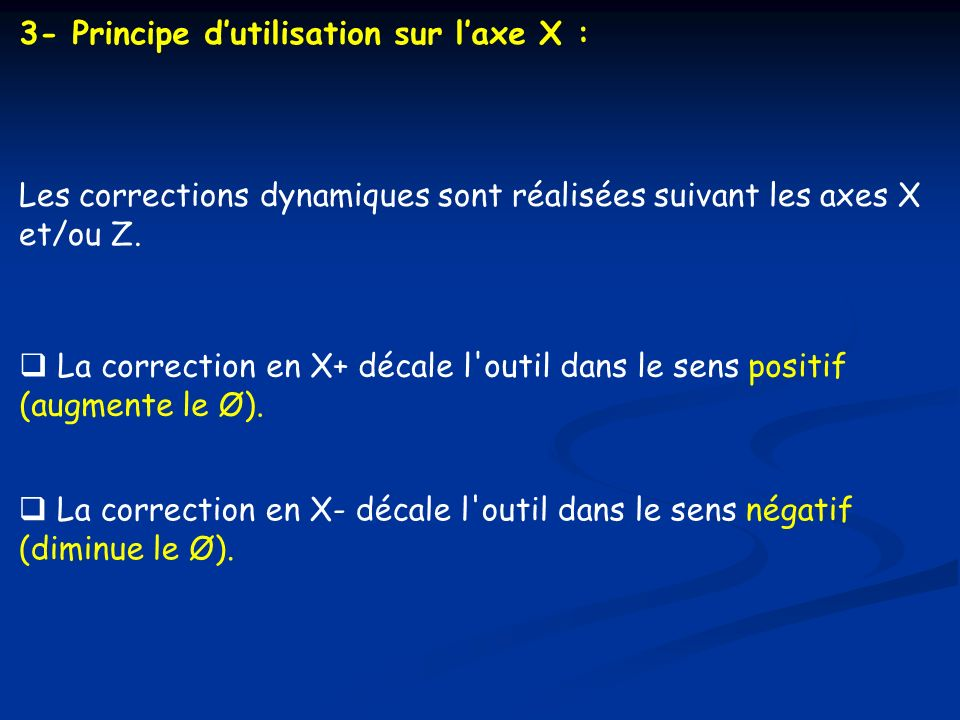 3- Principe d'utilisation sur l'axe X :