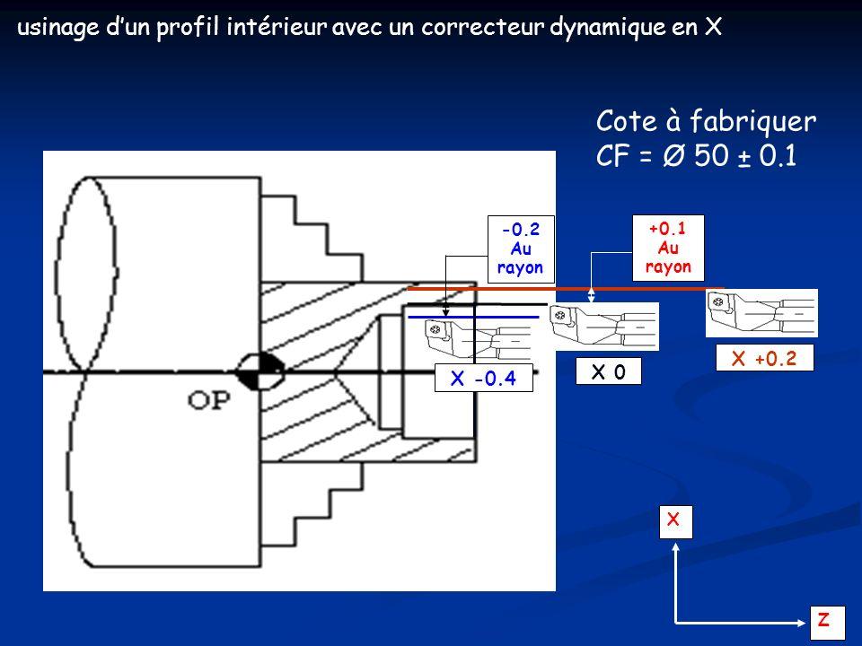 usinage d'un profil intérieur avec un correcteur dynamique en X