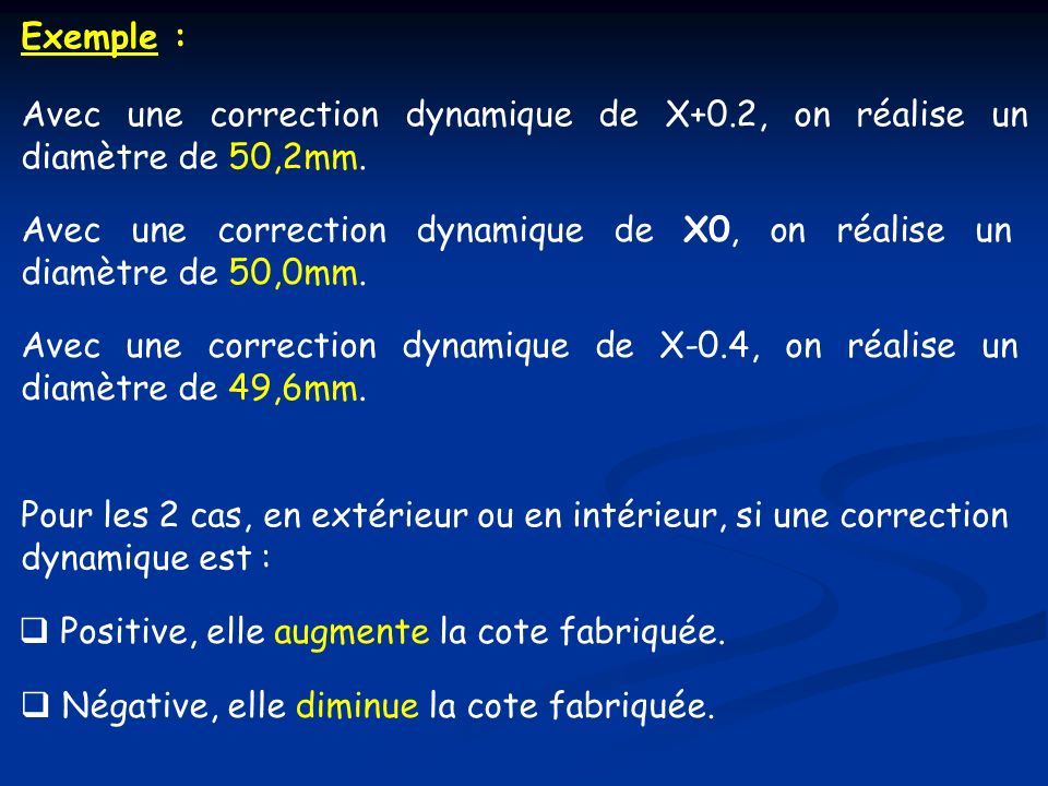 Exemple :Avec une correction dynamique de X+0.2, on réalise un diamètre de 50,2mm.
