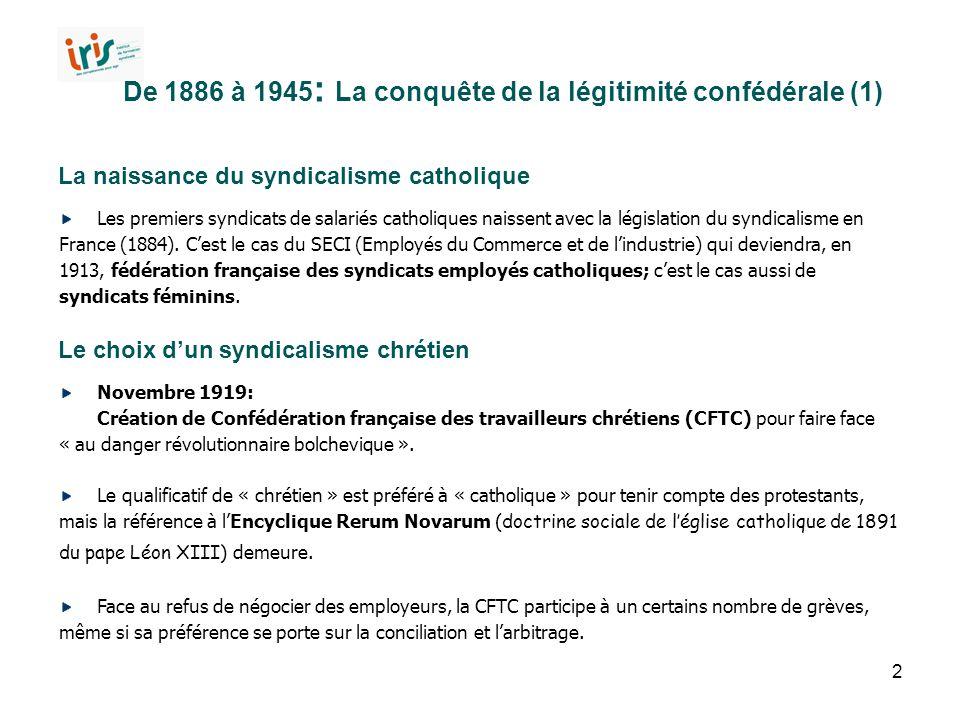 De 1886 à 1945: La conquête de la légitimité confédérale (1)