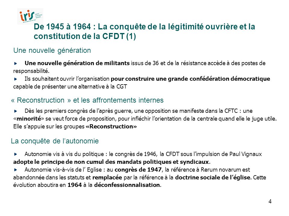 De 1945 à 1964 : La conquête de la légitimité ouvrière et la constitution de la CFDT (1)