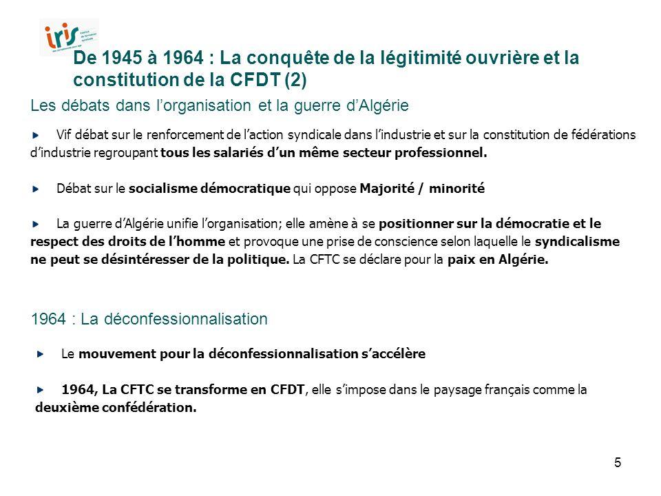 De 1945 à 1964 : La conquête de la légitimité ouvrière et la constitution de la CFDT (2)