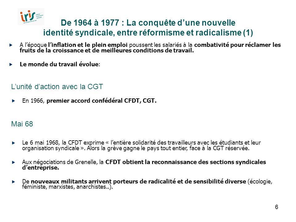 De 1964 à 1977 : La conquête d'une nouvelle identité syndicale, entre réformisme et radicalisme (1)