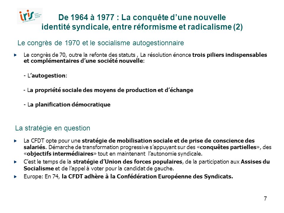 De 1964 à 1977 : La conquête d'une nouvelle identité syndicale, entre réformisme et radicalisme (2)
