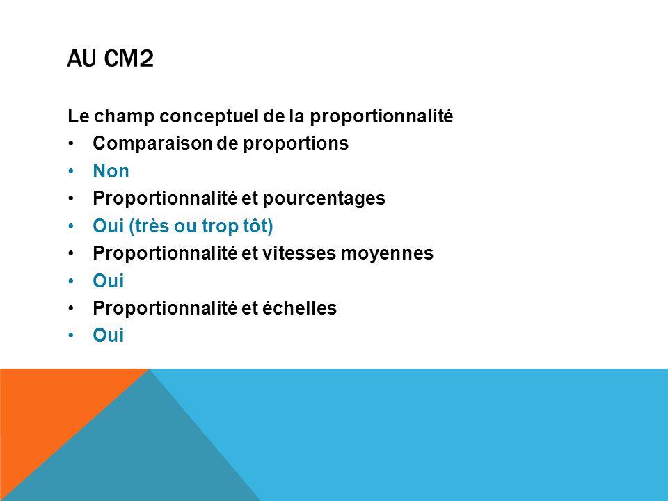 au Cm2 Le champ conceptuel de la proportionnalité