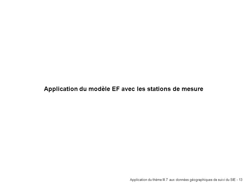 Application du modèle EF avec les stations de mesure