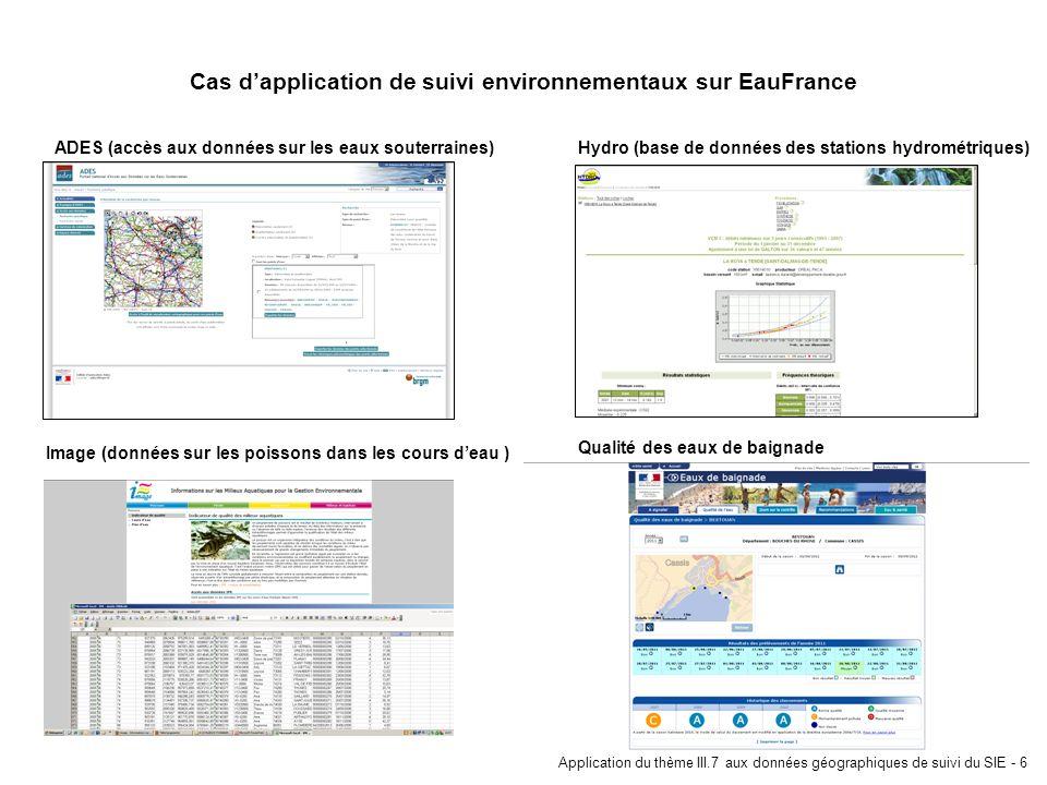 Cas d'application de suivi environnementaux sur EauFrance