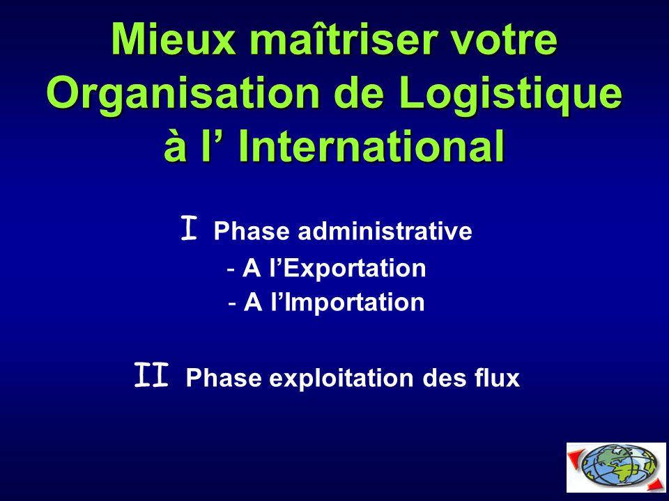 Mieux maîtriser votre Organisation de Logistique à l' International