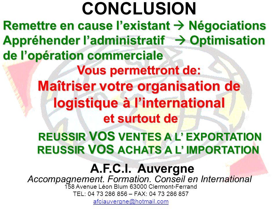 CONCLUSION Remettre en cause l'existant  Négociations. Appréhender l'administratif  Optimisation de l'opération commerciale.