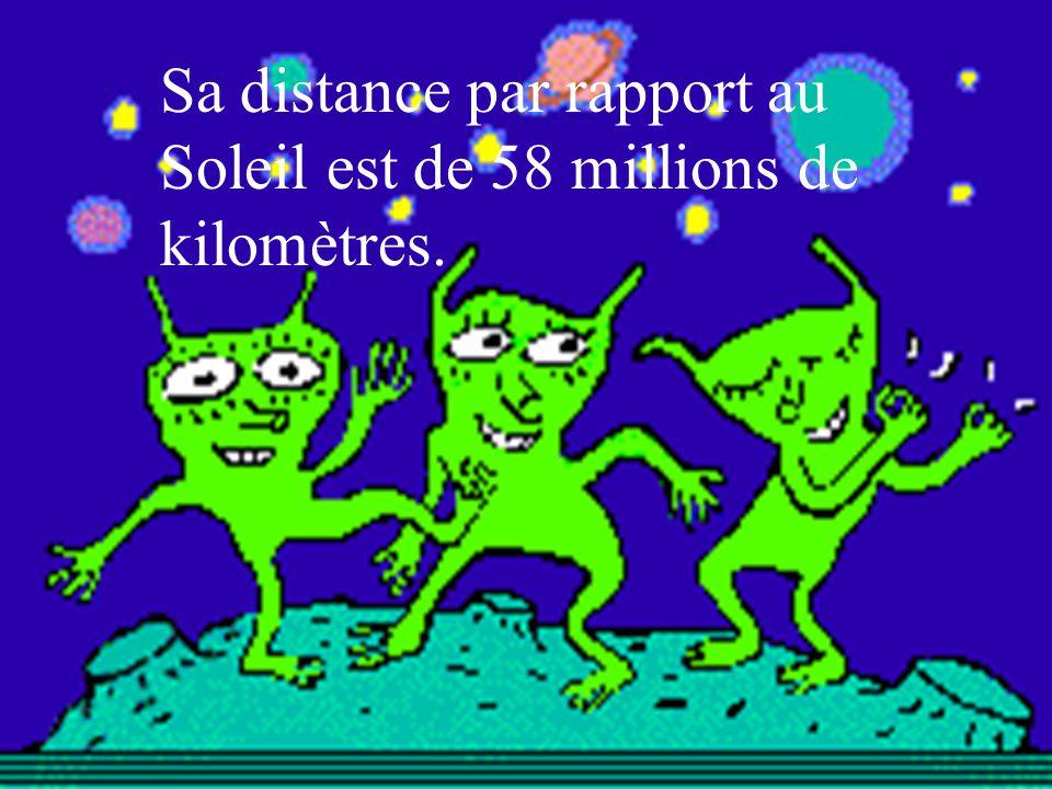 Sa distance par rapport au Soleil est de 58 millions de kilomètres.