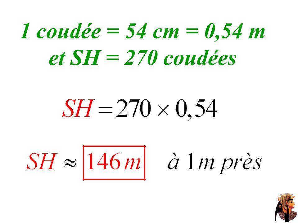 1 coudée = 54 cm = 0,54 m et SH = 270 coudées