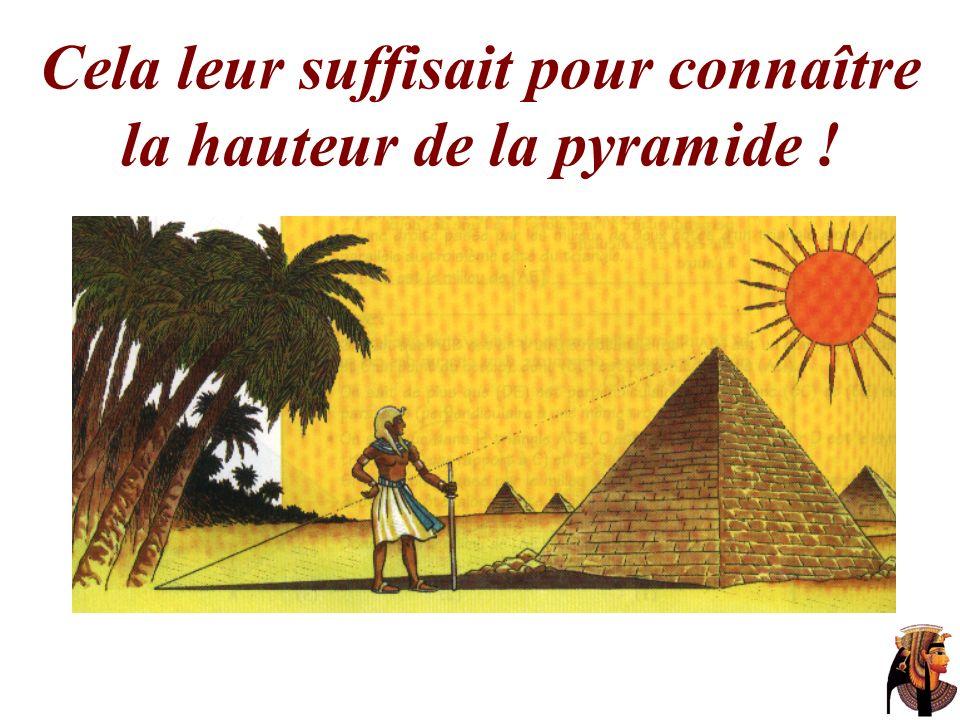 Cela leur suffisait pour connaître la hauteur de la pyramide !