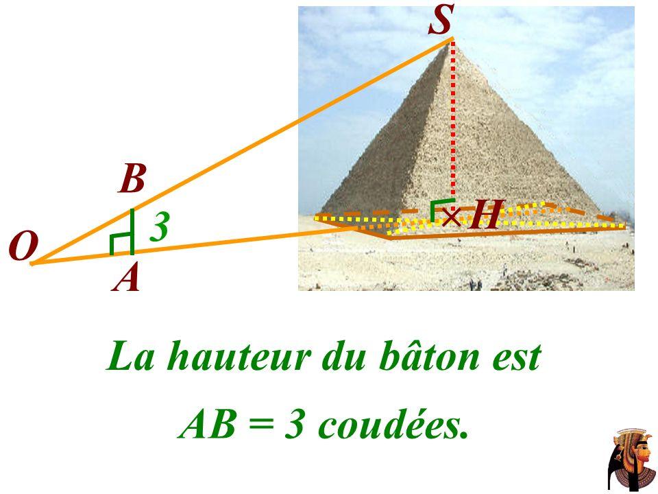 S B  H 3 O A La hauteur du bâton est AB = 3 coudées.