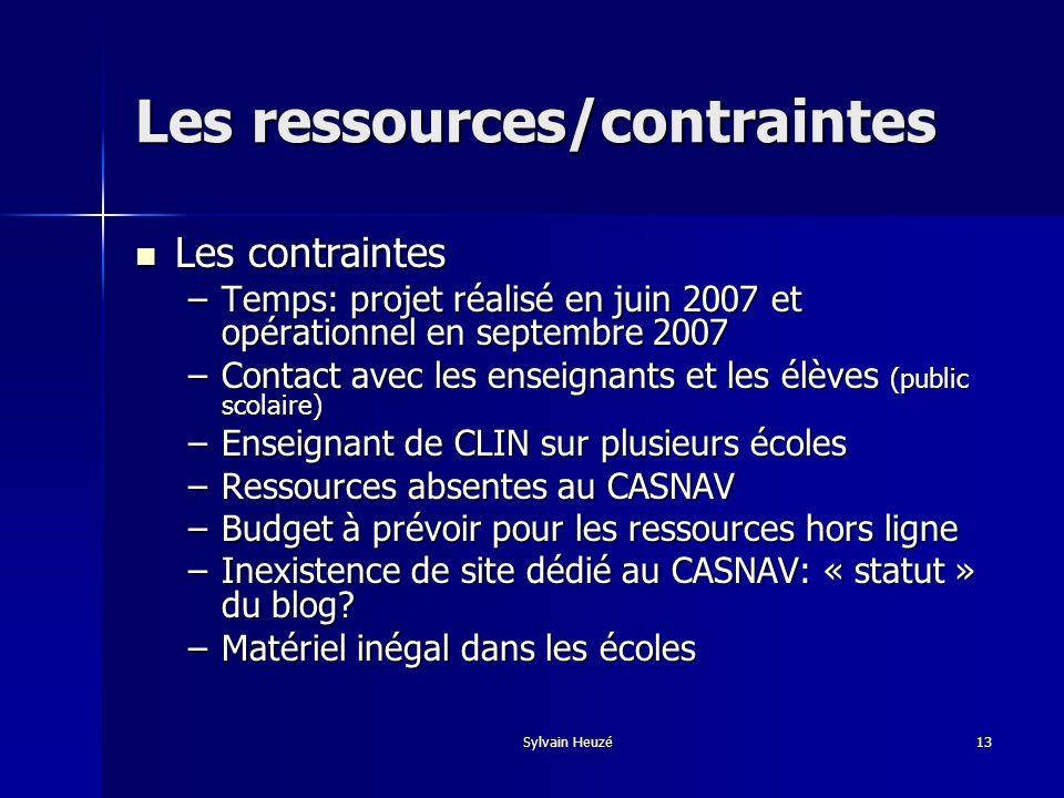 Les ressources/contraintes