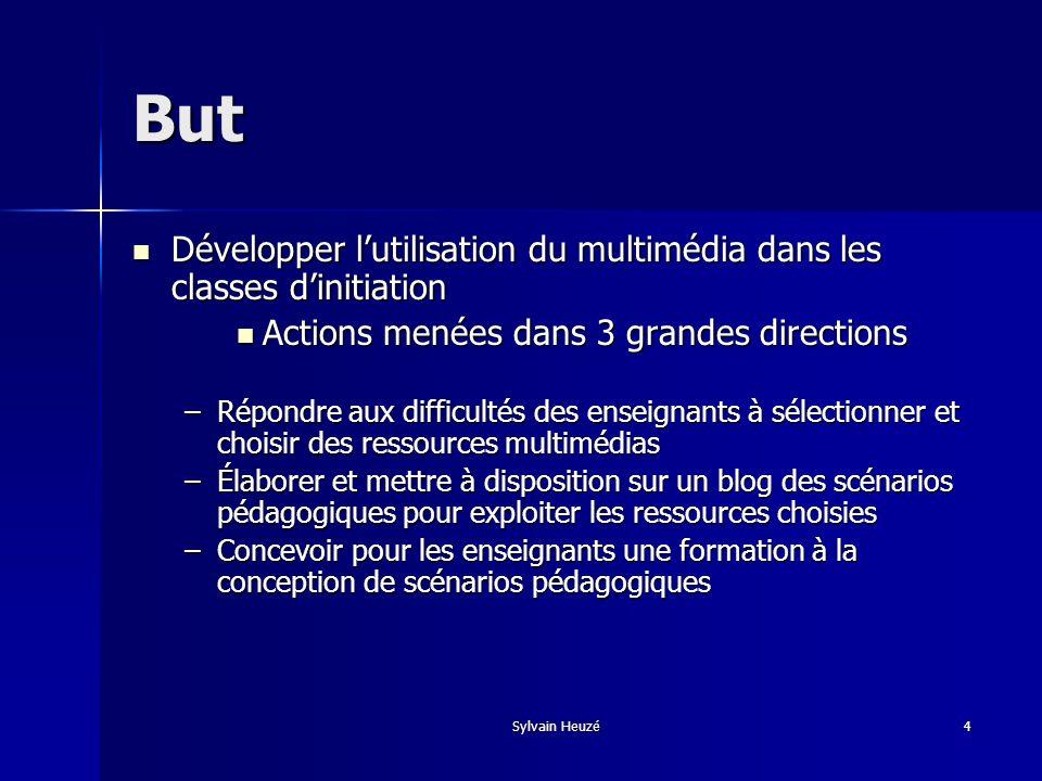 ButDévelopper l'utilisation du multimédia dans les classes d'initiation. Actions menées dans 3 grandes directions.