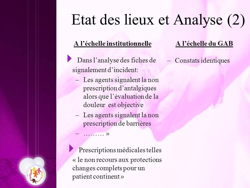 Etat des lieux et Analyse (2)