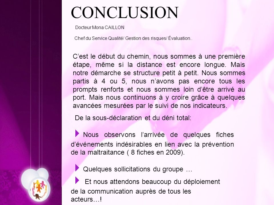 CONCLUSION Docteur Mona CAILLON