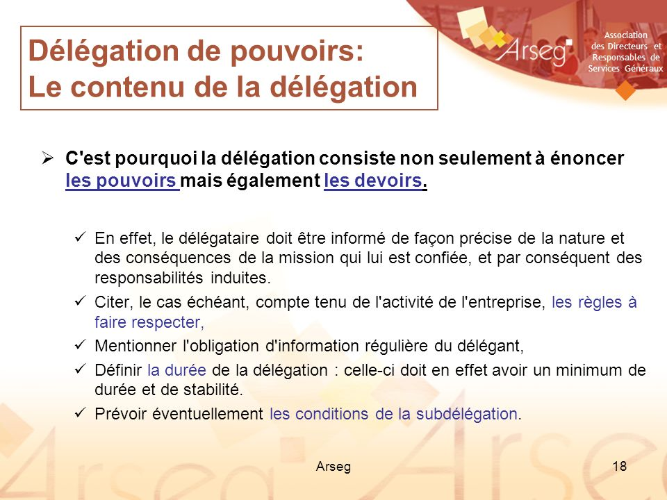Délégation de pouvoirs: Le contenu de la délégation