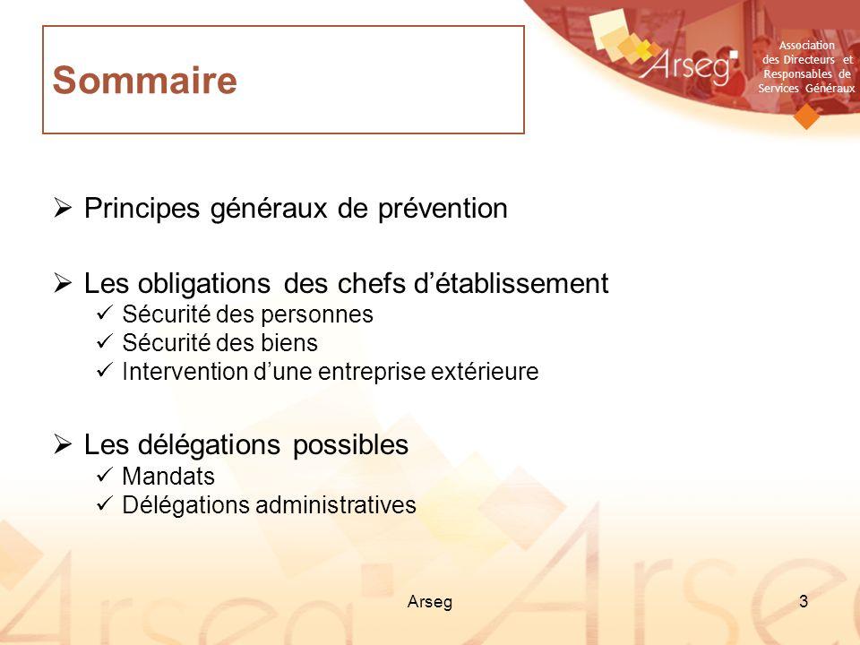 Sommaire Principes généraux de prévention