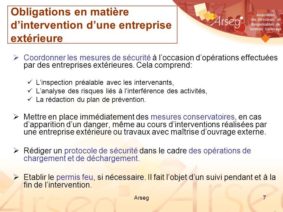 Obligations en matière d'intervention d'une entreprise extérieure