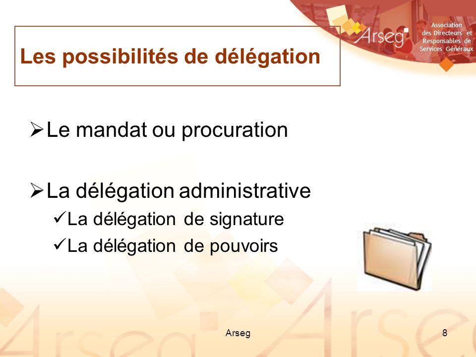 Les possibilités de délégation