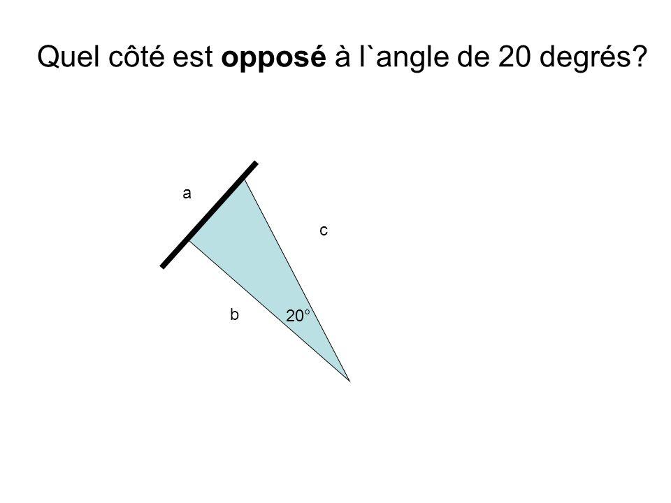 Quel côté est opposé à l`angle de 20 degrés