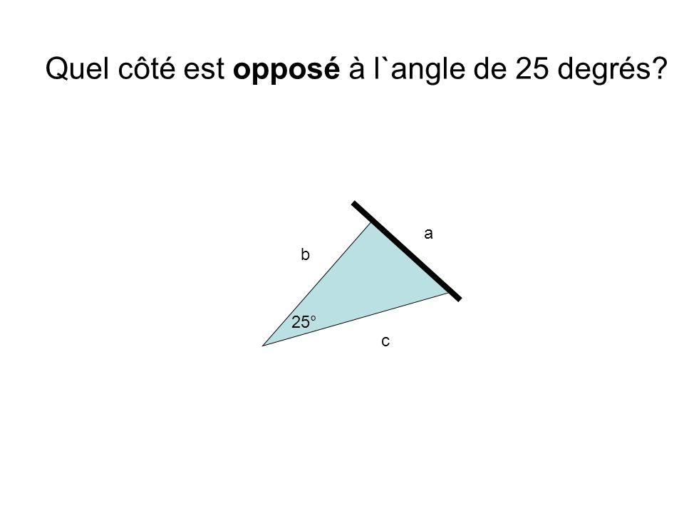 Quel côté est opposé à l`angle de 25 degrés