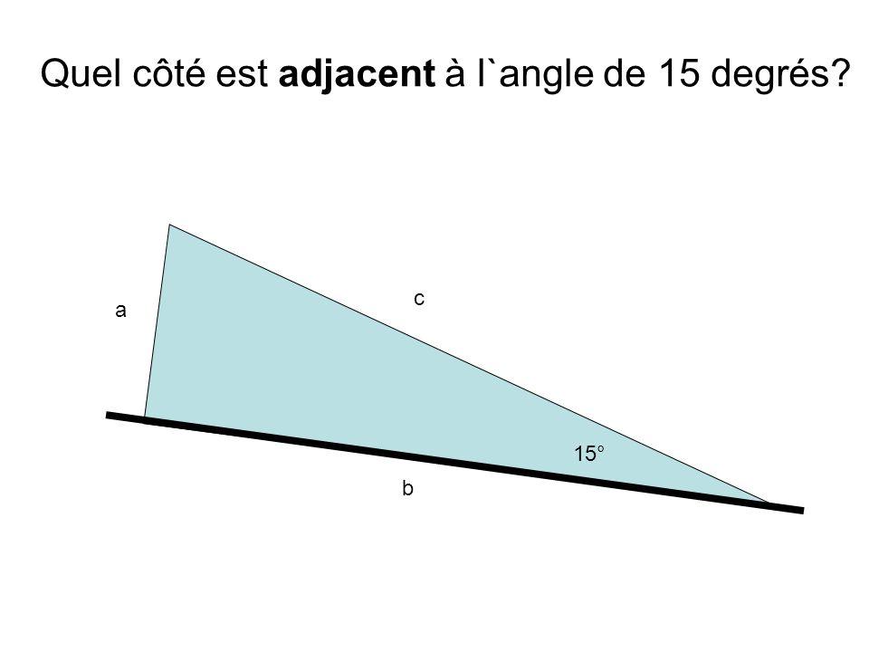 Quel côté est adjacent à l`angle de 15 degrés