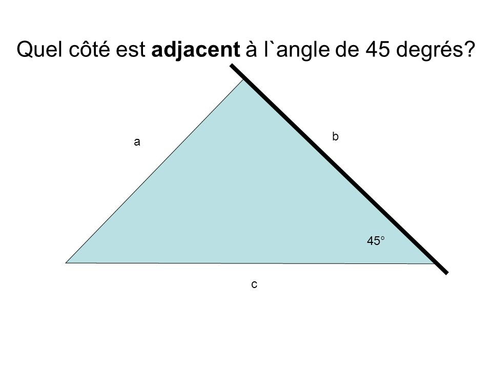 Quel côté est adjacent à l`angle de 45 degrés
