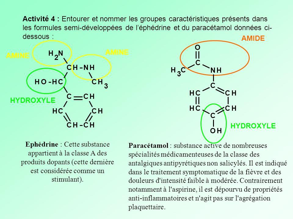 Activité 4 : Entourer et nommer les groupes caractéristiques présents dans les formules semi-développées de l'éphédrine et du paracétamol données ci-dessous :