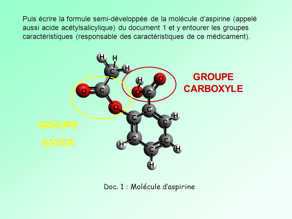 Doc. 1 : Molécule d'aspirine