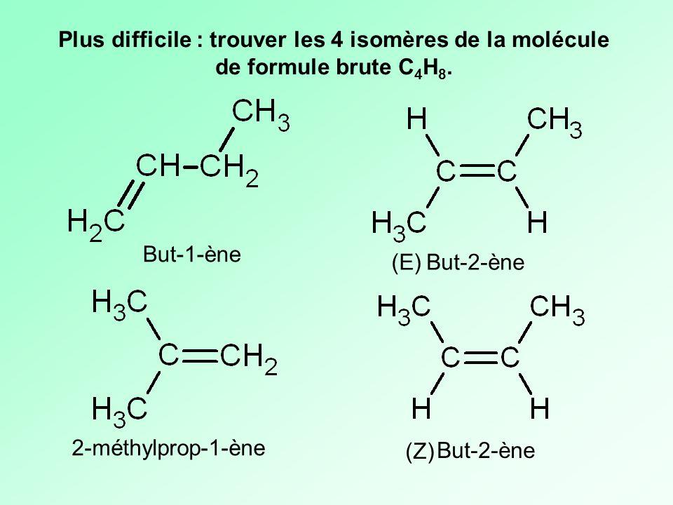 Plus difficile : trouver les 4 isomères de la molécule de formule brute C4H8.