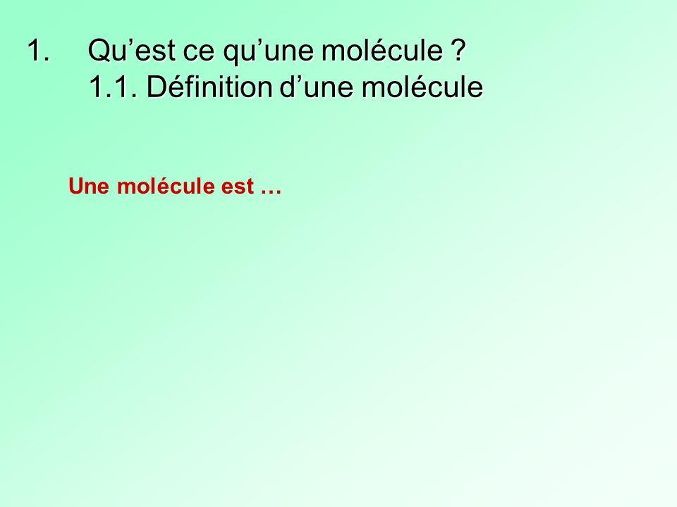 Qu'est ce qu'une molécule 1.1. Définition d'une molécule